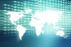 Mapa do mundo com fundo azul digital do tema dos códigos binários Fotos de Stock Royalty Free
