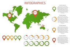 Mapa do mundo com grupo de elementos do infographics Ilustração do vetor Fotos de Stock