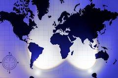 Mapa do mundo com a imagem dos países e dos continentes na parede com luz fotografia de stock royalty free