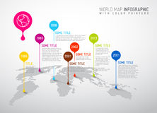 Mapa do mundo com marcas do ponteiro