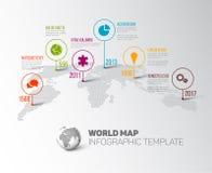 Mapa do mundo com marcas e ícones do ponteiro Imagens de Stock
