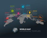 Mapa do mundo com marcas e ícones do ponteiro Fotografia de Stock