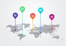 Mapa do mundo com marcas do ponteiro de Infographic, carta da luz do vetor do conceito de uma comunicação ilustração stock