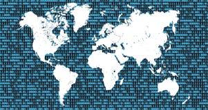 Mapa do mundo com números binários como o fundo Fotos de Stock Royalty Free