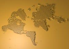 Mapa do mundo com números binários como a textura Imagens de Stock