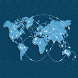 Mapa do mundo com os nós ligados por linhas Logística internacional ou conceito do negócio Fotos de Stock Royalty Free