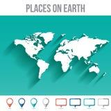 Mapa do mundo com pinos, vetor liso do projeto Fotos de Stock Royalty Free