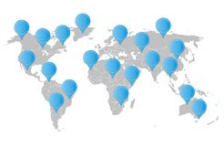 Mapa do mundo com ponteiro Fotografia de Stock Royalty Free