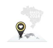 Mapa do mundo com um marcador em Brasil Imagem de Stock Royalty Free