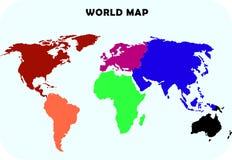 Mapa do mundo do continente Fotografia de Stock