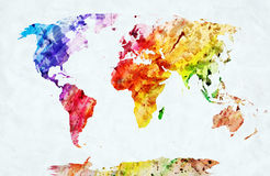Mapa do mundo da aquarela Fotos de Stock