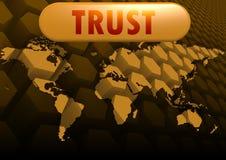 Mapa do mundo da confiança Imagens de Stock