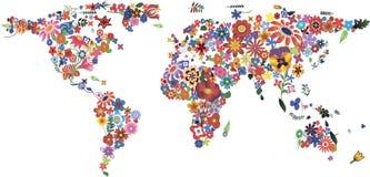 Mapa do mundo da flor ilustração do vetor