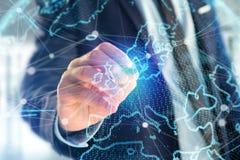 Mapa do mundo da rede da tecnologia indicado em uma relação futurista fotos de stock royalty free