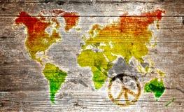 Mapa do mundo da reggae do Grunge Imagens de Stock Royalty Free