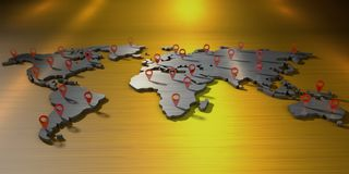 mapa do mundo da rendição 3d com muitos sinais do geolocation ilustração royalty free