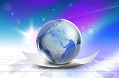 Mapa do mundo da tecnologia - Ásia, África Foto de Stock Royalty Free