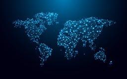 Mapa do mundo das linhas e dos triângulos, rede de conexão do ponto no fundo azul ilustração stock