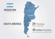 Mapa do mundo de Argentina com um teste padrão do diamante do pixel Fotos de Stock Royalty Free