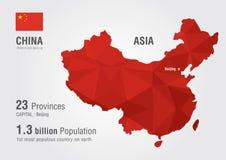 Mapa do mundo de China com uma textura do diamante do pixel imagem de stock royalty free