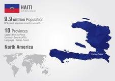 Mapa do mundo de Haiti com uma textura do diamante do pixel Imagens de Stock Royalty Free