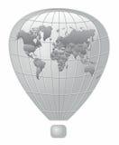 Mapa do mundo de prata do balão de fogo Fotos de Stock Royalty Free