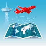Mapa do mundo de rota de voo do avião imagem de stock royalty free