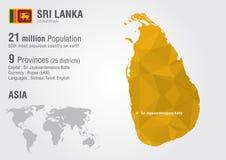 Mapa do mundo de Sri Lanka com uma textura do diamante do pixel Foto de Stock