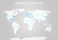 Mapa do mundo de uma comunicação Foto de Stock Royalty Free