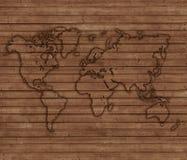 Mapa do mundo descrito em placas de madeira Fotos de Stock Royalty Free