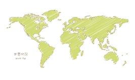 Mapa do mundo desenhado à mão do esboço, projeção de Mercator Foto de Stock Royalty Free