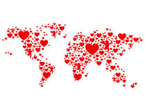 Mapa do mundo do amor fotos de stock royalty free