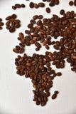 Mapa do mundo do café Foto de Stock Royalty Free