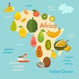 Mapa do mundo do fruto, África Fotografia de Stock