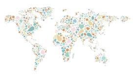 Mapa do mundo do teste padrão do vintage Imagem de Stock Royalty Free