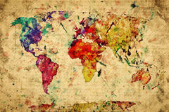 Mapa do mundo do vintage. Pintura colorida Foto de Stock Royalty Free