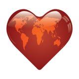 Mapa do mundo do whit do coração sobre. Fotografia de Stock