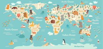Mapa do mundo dos animais Fotos de Stock Royalty Free
