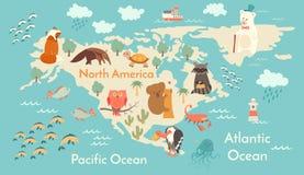 Mapa do mundo dos animais, America do Norte Fotos de Stock