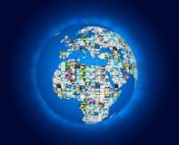 Mapa do mundo dos multimédios da transmissão da televisão Fotos de Stock Royalty Free