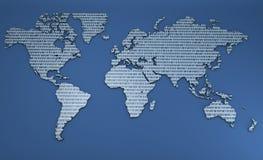 Mapa do mundo dos números binários Imagens de Stock