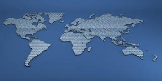 Mapa do mundo dos números binários Imagem de Stock
