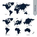 Mapa do mundo e continente Fotos de Stock Royalty Free