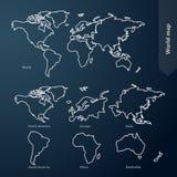 Mapa do mundo e continente Fotografia de Stock Royalty Free