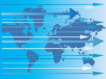 Mapa do mundo e das setas dentro Fotos de Stock