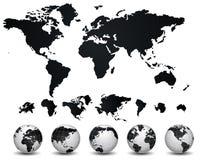 Mapa do mundo e globo Foto de Stock