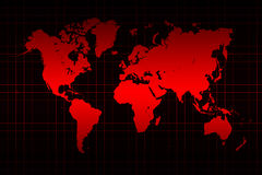 Mapa do mundo e linha de grade no vermelho Imagem de Stock Royalty Free