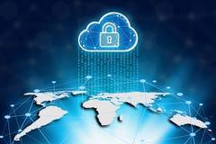 Mapa do mundo e nuvem em um fundo da tecnologia, segurança do Cyber Fotografia de Stock Royalty Free