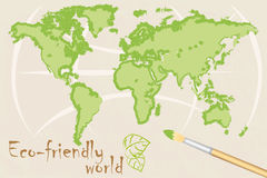 Mapa do mundo eco-friendly Fotos de Stock