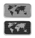 Mapa do mundo em ícones escovados do app do metal ilustração do vetor